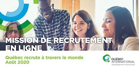 Mission de recrutement en ligne : Québec recrute à travers le monde billets
