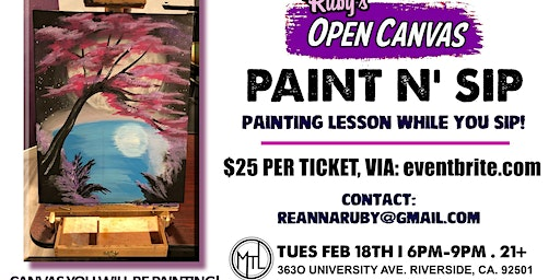 Paint n' Sip - Ruby's Open Canvas