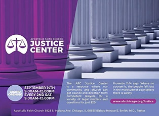 Apostolic Faith Church host a monthly Gospel Justice Center every 2nd Sat. at 9:00 am.  tickets