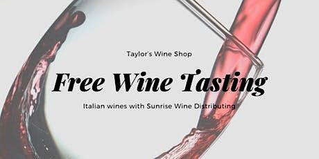 Italian Wine Tasting with Sunrise Wines biglietti