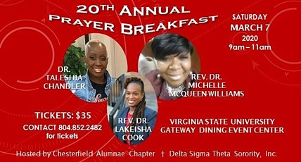 Chesterfield Alumnae Chapter of Delta Sigma Theta Sorority, Incorporated 20th Annual Prayer Breakfast tickets