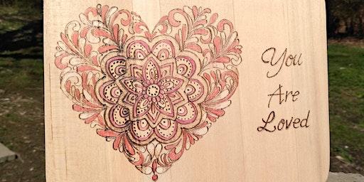 Wood Burning Workshop - Mandala Heart at Crafts and Drafts