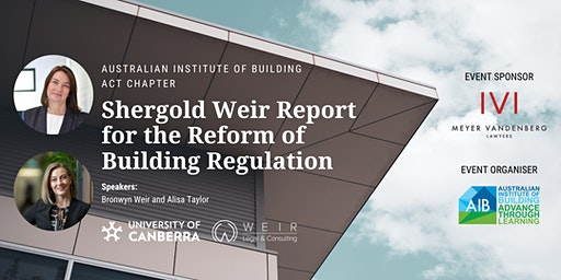 AIB ACT Chapter Shergold Weir Report Status Update on Building Regulation