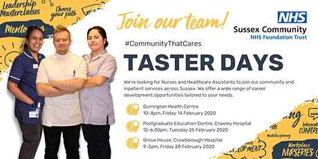 Taster Days for Nurses and Healthcare Assistants - Crawley tickets