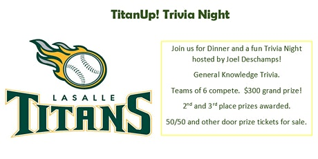 TitanUp Trivia Night! Fundraiser Benefiting 2007 Titans Green Baseball Team tickets