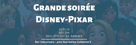 Soirée DISNEY-PIXAR 2020 billets
