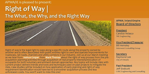 APWA/IE March 2020 Meeting | Right of Way