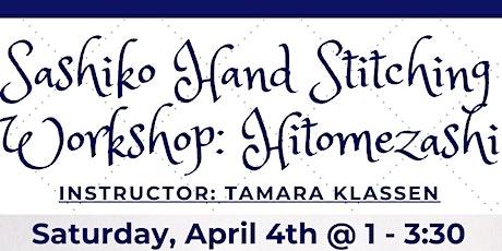 Workshop: Sashiko Embroidery: Hitomezashi tickets