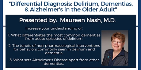 Differential Dx: Delirium, Dementia, & Alzheimer's Disease tickets