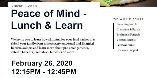 Peace of Mind - Lunch & Learn