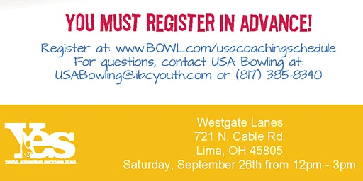 FREE USA Bowling Coach Certification Seminar - Westgate Lanes, Lima, OH