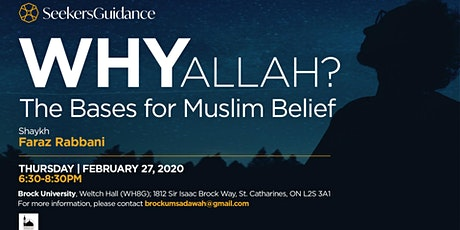 Why Allah?  The Bases for Muslim Belief tickets