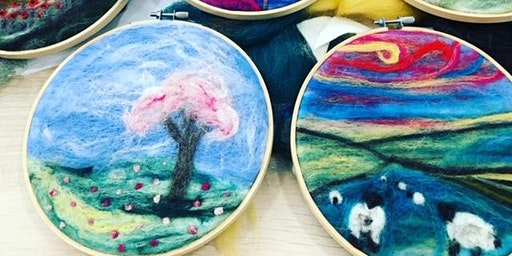 Adult and child beginners 2-d needle felt workshop.