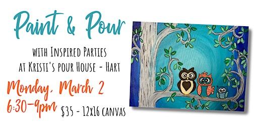 Paint & Pour - Spring Owls