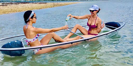 CLEAR Bottom KAYAK Island Adventure with Champagne toast included!