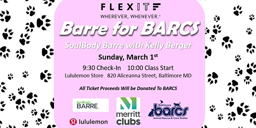 FlexIt and Merritt Clubs Present: Barre For BARCS