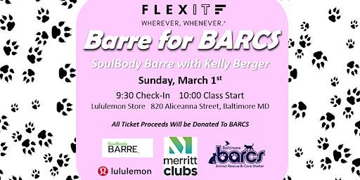 FlexIt and Merritt Clubs Present: Barre For BARCS