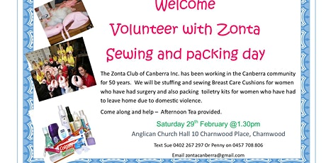 VOLUNTEER - Help Us Get Stuffed - Breast Care Cushions and Tioletry Packing tickets