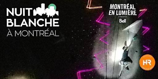 Horizon Roc en Lumière: Escalade - Acro-Parc - Black light - Performances et PLUS| Nuit Blanche Montréal en lumière