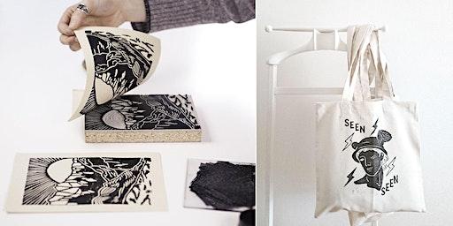 Linocut Print Making Workshop on Paper & Tote Bag