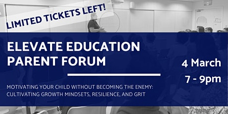 Elevate Education Parent Forum 2020 | Growth Mindsets, Resilience, and Grit tickets