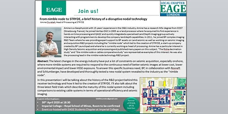 EAGE London Evening Talk: From nimble node to STRYDE, a brief history of a disruptive nodal technology tickets