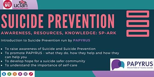 Suicide Prevention - Awareness, Resources, Knowledge (UCLAN STAFF ONLY)