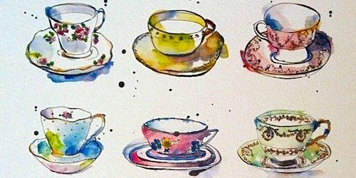 Watercolour Painting at Juliet's Cafe - Still life Vintage Tea-Cups