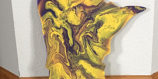 Wooden MN Paint Pouring