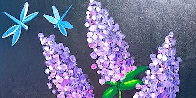 "Paint & Eat -""Lavender lilacs in Glass"""