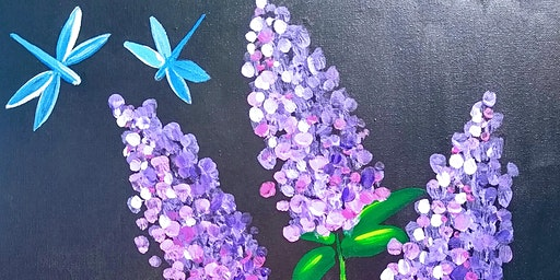 "Paint & Eat -""Lavender lilacs in Glass"""
