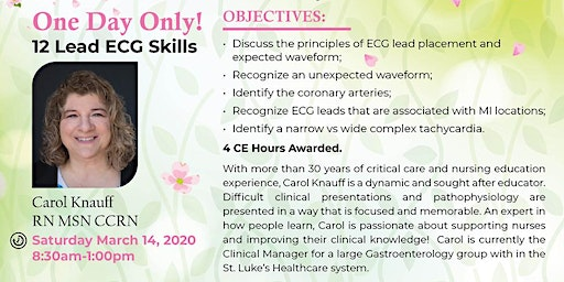 12 Lead ECG Skills:  ONE DAY ONLY!
