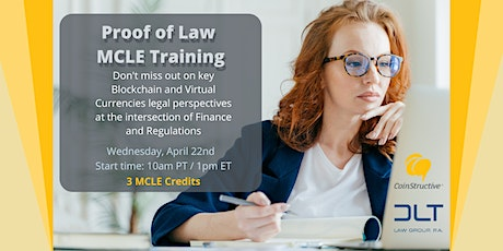 """Proof of Law: Cryptocurrencies & Blockchain """"Live"""" MCLE Training (22APR20) tickets"""