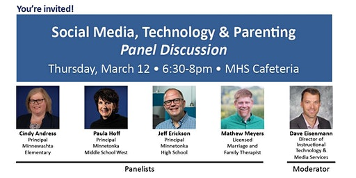 Social Media, Tech & Parenting Panel Discussion 6:30-8pm March 12 @ MHS