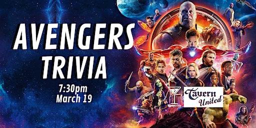 Avengers Trivia - March 19, 7:30pm - Tavern United