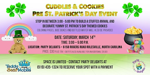 Cuddles & Cookies Pre St. Patrick's Day Event