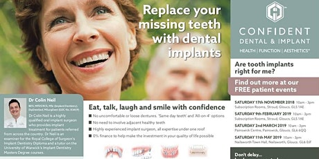 """Free Dental Implants Patient Information Event Nailsworth Saturday 21st March 2020 10am-1pm """"Mind The Gap!"""" tickets"""