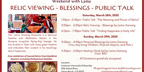 Buddhist Relic Viewing - Weekend With Lama tickets