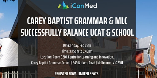 Free UCAT Workshop (Carey Baptist & MLC): Successfully Balancing UCAT Prep with School!