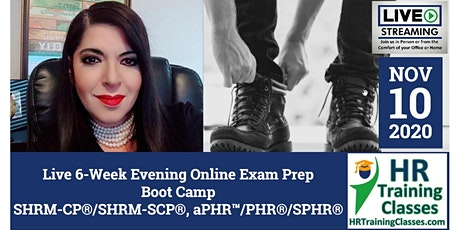 6-Week Evening Online SHRM-CP®, SHRM-SCP®, PHR®, SPHR® Exam Prep Boot Camp tickets