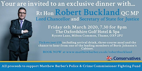 Dinner with Robert Buckland to support Matthew Barber's PCC Campaign tickets