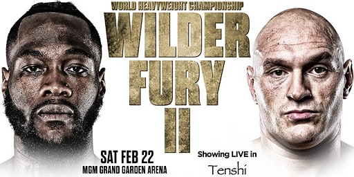 Tyson Fury Vs Deontay Wilder Showing LIVE in Tenshi at Casino Rooms, Rochester, Kent
