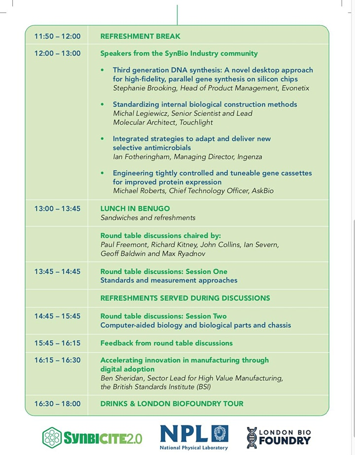 DIRECT INVITATION ONLY: Standards and Metrology in SynBio workshop image