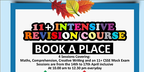 11 Plus Intensive Revision Courses Southend, Chelmsford, Colchester CSSE tickets