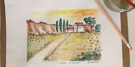 Watercolours Adults Class: Sunset in Tuscany. Stress Less Art Workshop tickets