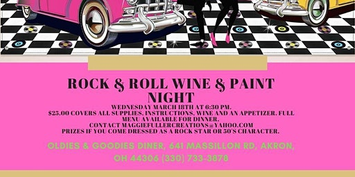 Rock and Roll Wine and Paint Night