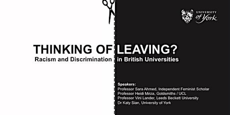 Thinking of Leaving? Racism and Discrimination in British Universities tickets