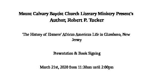 Mount Calvary Baptist Church Literary Ministry Presentation & Book Signing