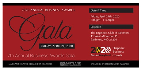 MDHCC Annual Business Awards Gala - 2020 Census: Hispanic Business Counts tickets