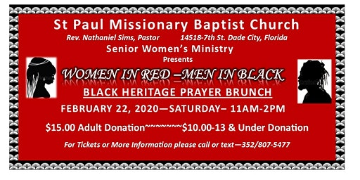 Annual Women In Red -Men In Black~ Black Heritage Prayer Brunch